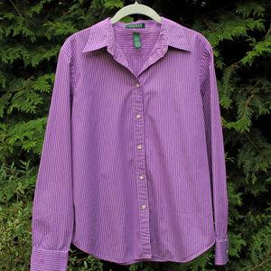 Pretty Ralph Lauren Purple/White Pinstripe Top